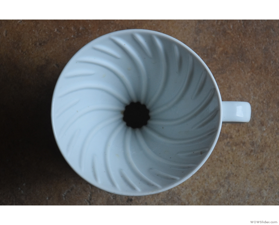 ... is my V60, shown here. Conical filters have a single hole in the bottom.