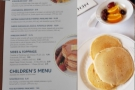 Here's the menu and the pancakes that Amanda had...