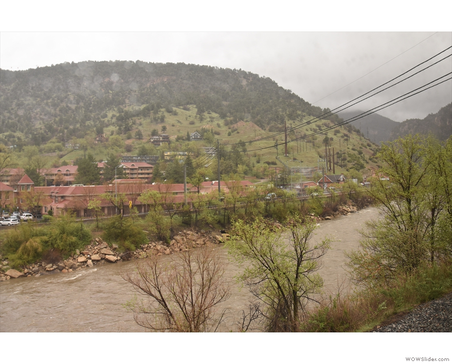 The town of Glenwood Springs, hugging the banks of the Colorado River.