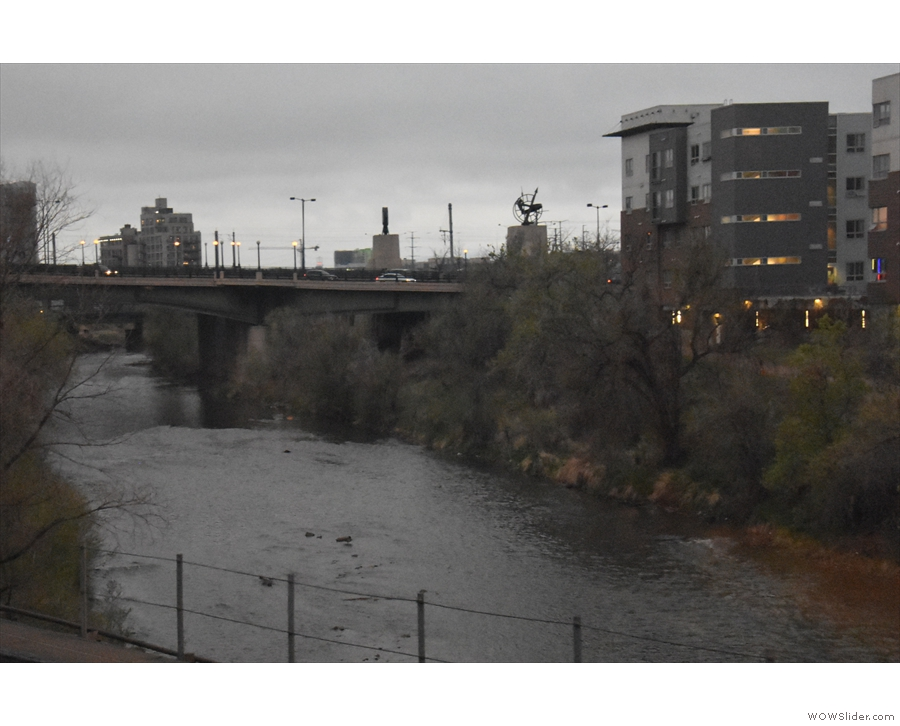 To get to the station, the train first crosses the South Platte River...