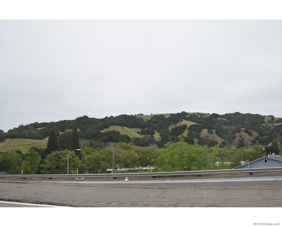 We went down the east side of San Francisco Bay, getting very close to the hills.