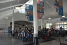 Our first destination: Emeryville Station and the crowded waiting room.