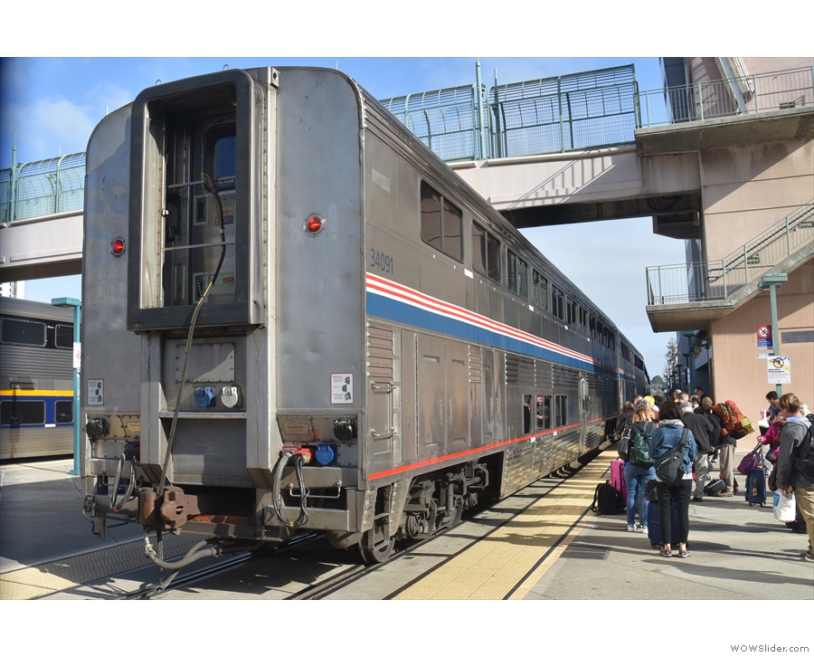Waiting at the queue at the back of the California Zephyr at Emeryville Station.