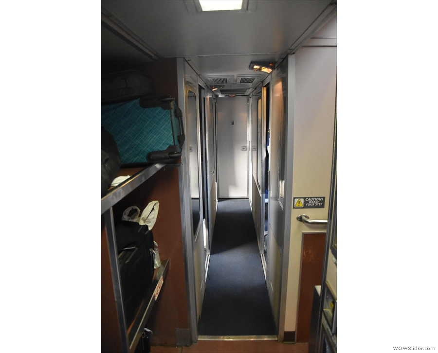 There are five rooms (11-15) downstairs, but our sleeper comparment (Room 8) ...