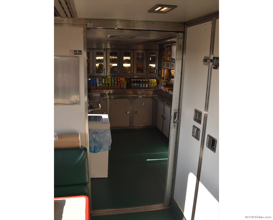 ... to the cafe car, with the counter at one end...