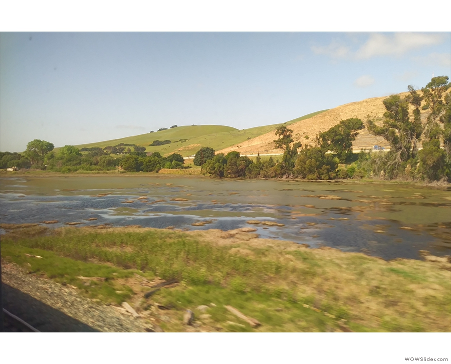 ... where there's a lovely contrast between the water and the green hills beyond.