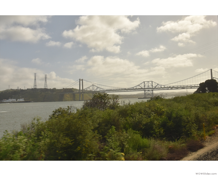 Up ahead are the twin spans of the Carquinez Bridge which takes I80 across the strait.