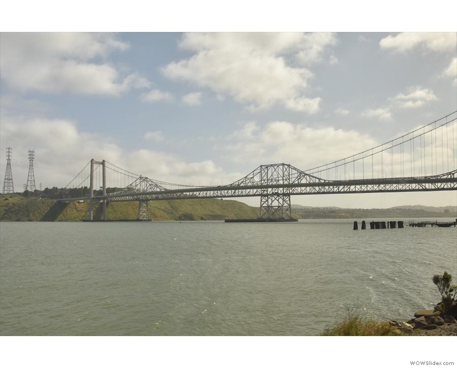 The closer of the two (the suspension bridge) is the Alfred Zampa Memorial Bridge.