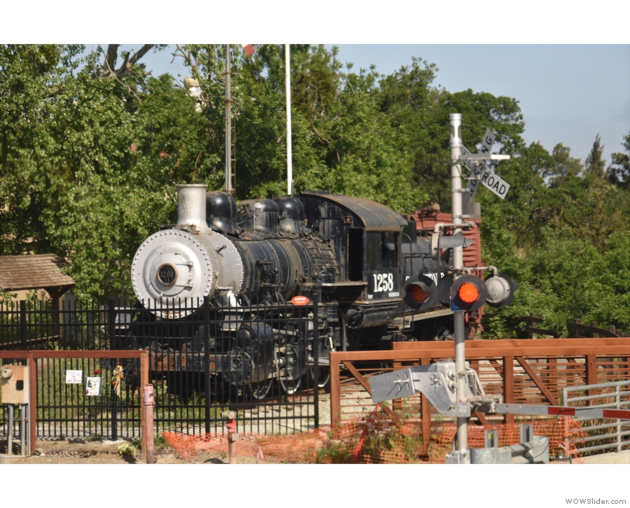 Our first stop is Martinez, where this old Southern Pacific locomotive...