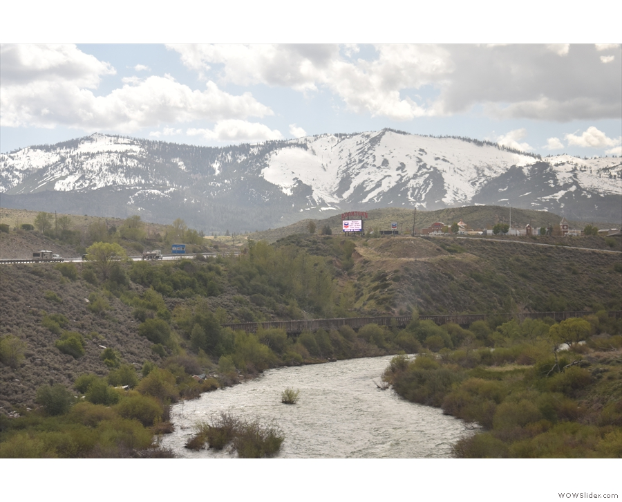 The river, flume and freeway, all in one shot, with the mountains behind them all.