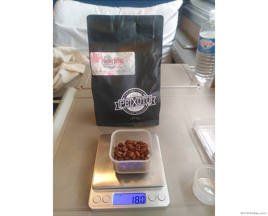 Back on board and we took the chance to weigh out some beans for our coffee.