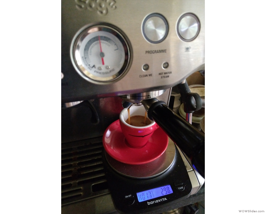 Finally, yesterday's espresso was an example of the 20 second, 38 grams extraction...