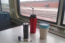 Our first coffee of the day, made using my Travel Press, with water from the cafe car.