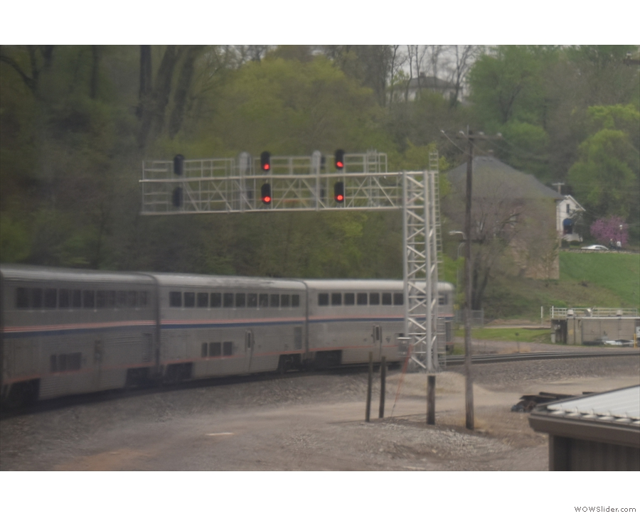 We swing around by 90° to cross the bridge, allowing me a view of the back of the train.
