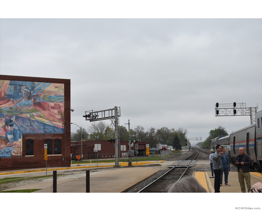 The view in the direction of Chicago, where our locomotives are parked across the road!