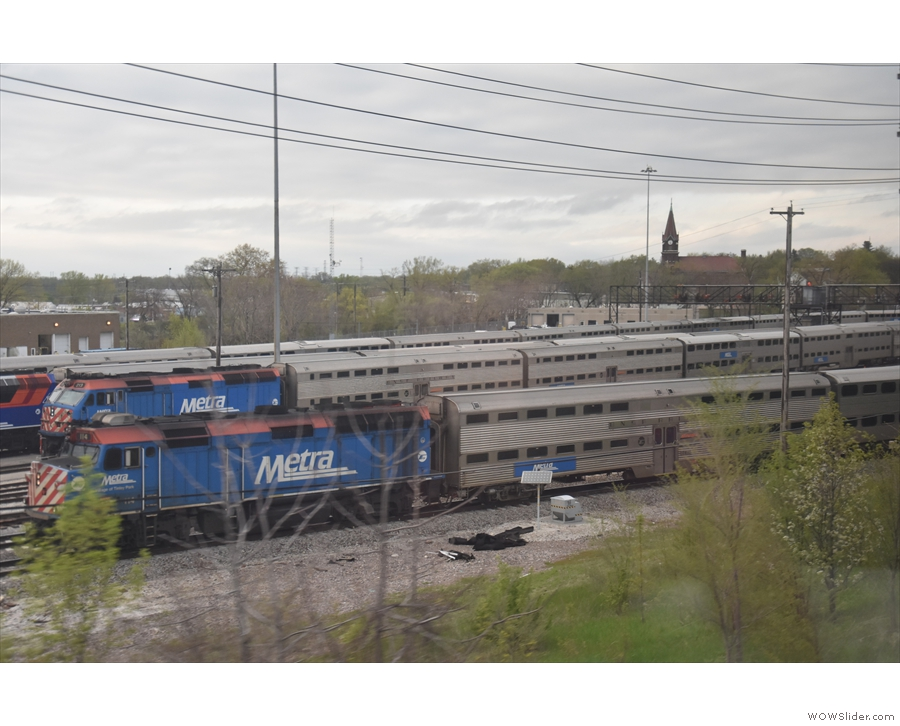 This large Metra depot marks the end of the BNSF line at Aurora.