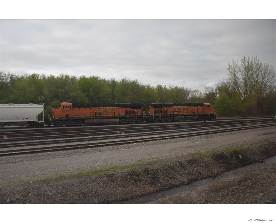 The line has the name of BNSF, the freight service that owns the lines.