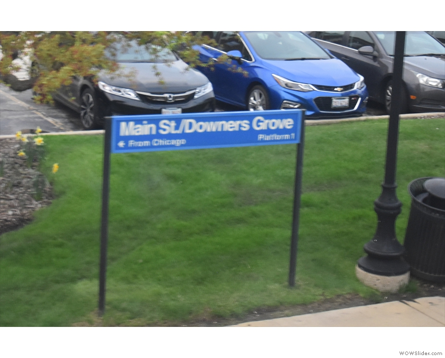 This is Downers Grove/Main Street (one of three Downers Grove stations)...