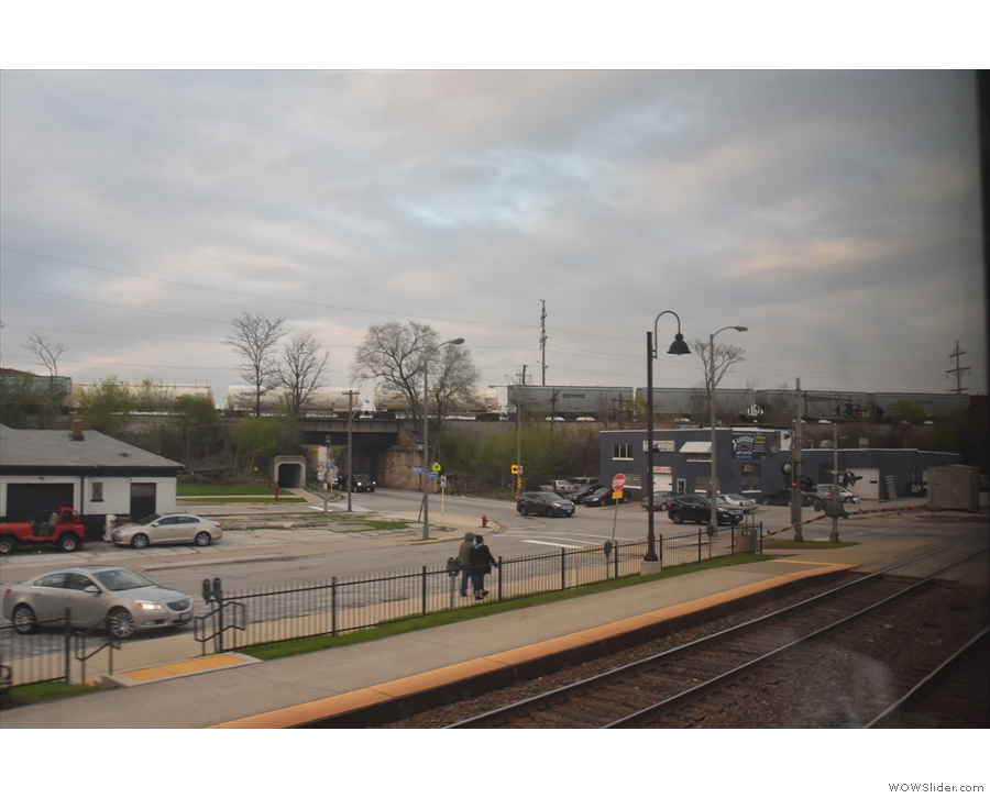 ... taking the Metra to this stop, La Grange Road (to visit a coffee shop, Owl and Lark).