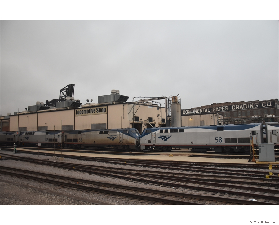... so that we can reverse into the station, back past the Amtrak locomotive shop.