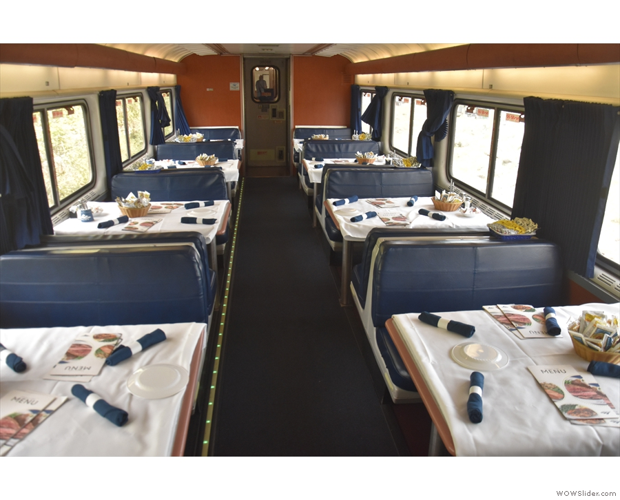 Here's the inside of a Superliner dining car, specifically the one on the California Zephyr.