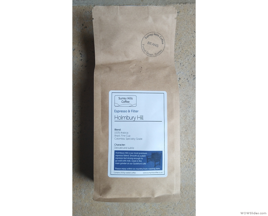 ... which I used in my AeroPress, Surrey Hills Coffee's Holmbury Hill blend (cafetiere)...