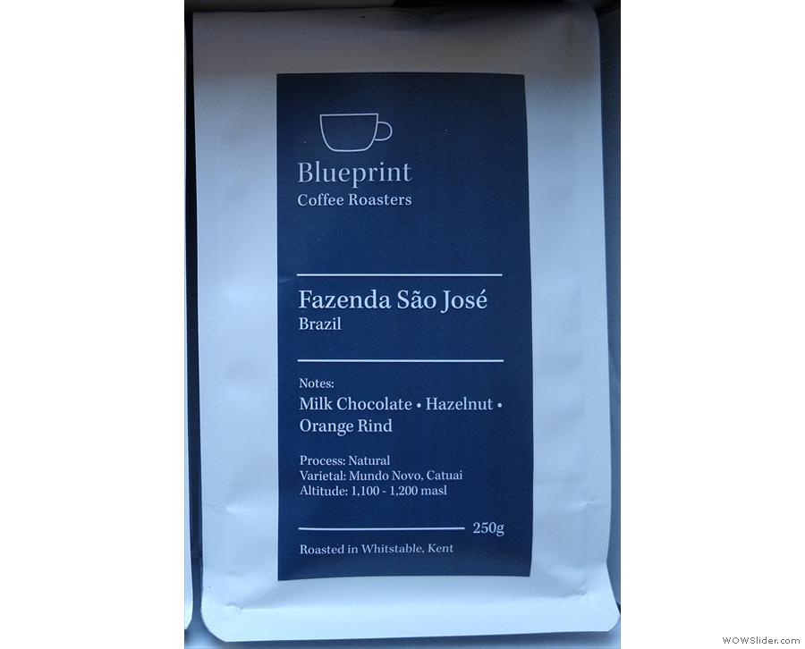 Blueprint describes its Fazenda São José as 'milk chocolate, hazelnuts and orange rind'.