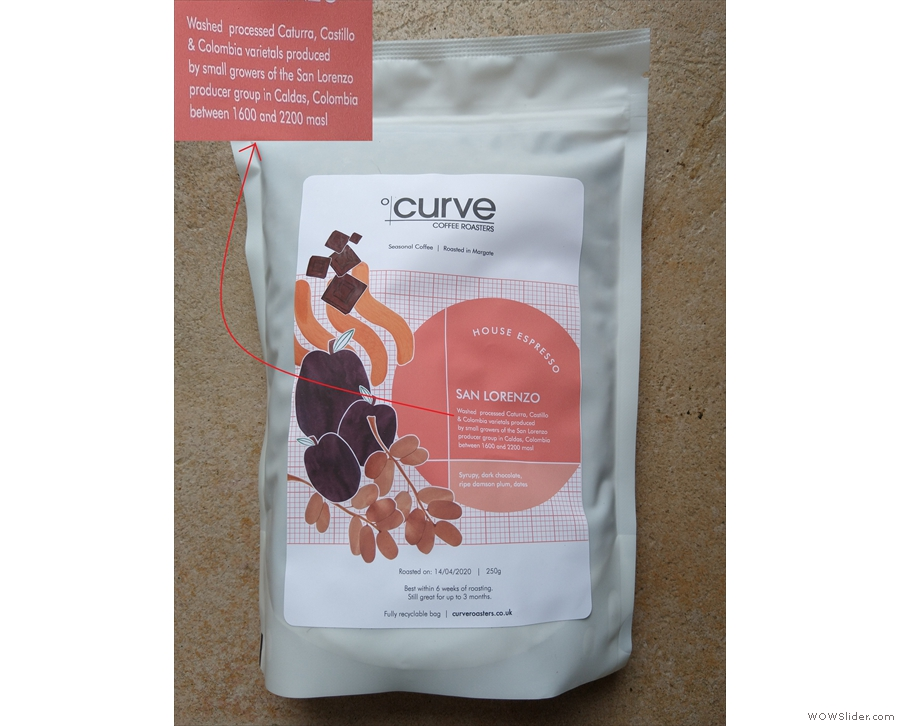 And finally, many roasters list the varietals in its coffee, like this one from Curve Coffee.