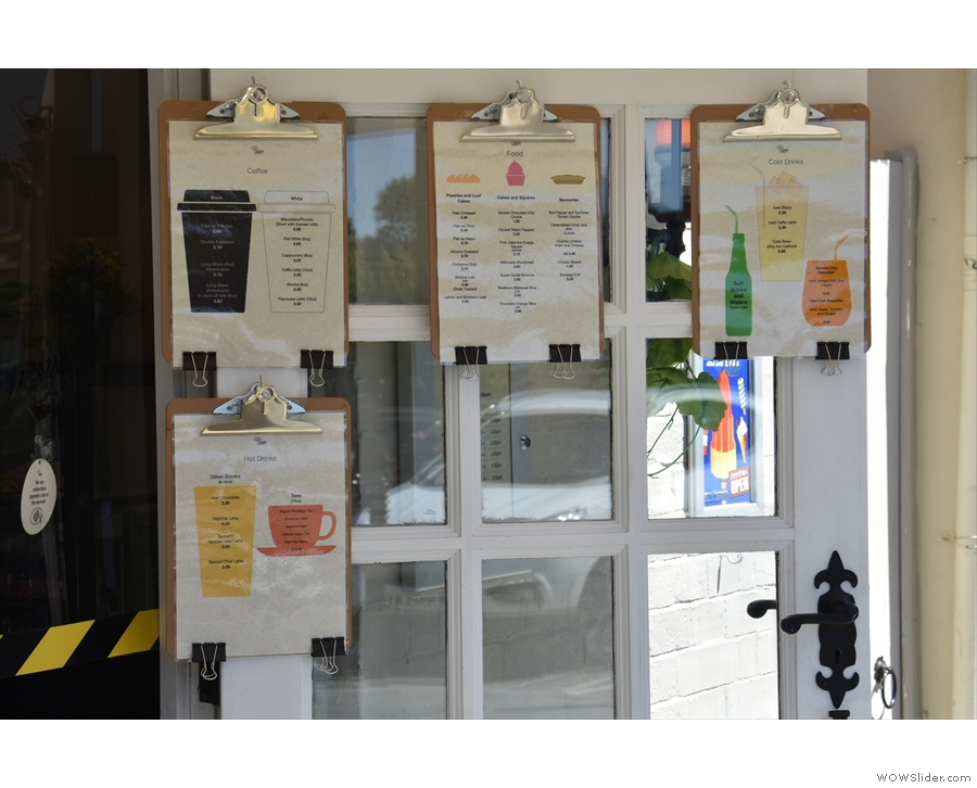 The open door also provides a useful place to hang the menus!