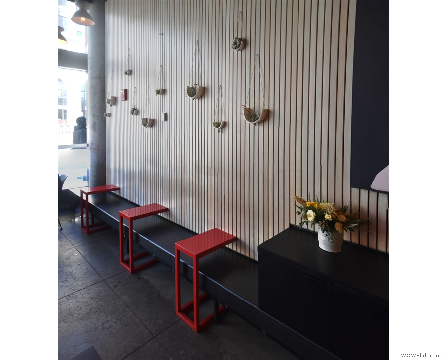 There's also seating against the left-hand wall where you'll find this bench.