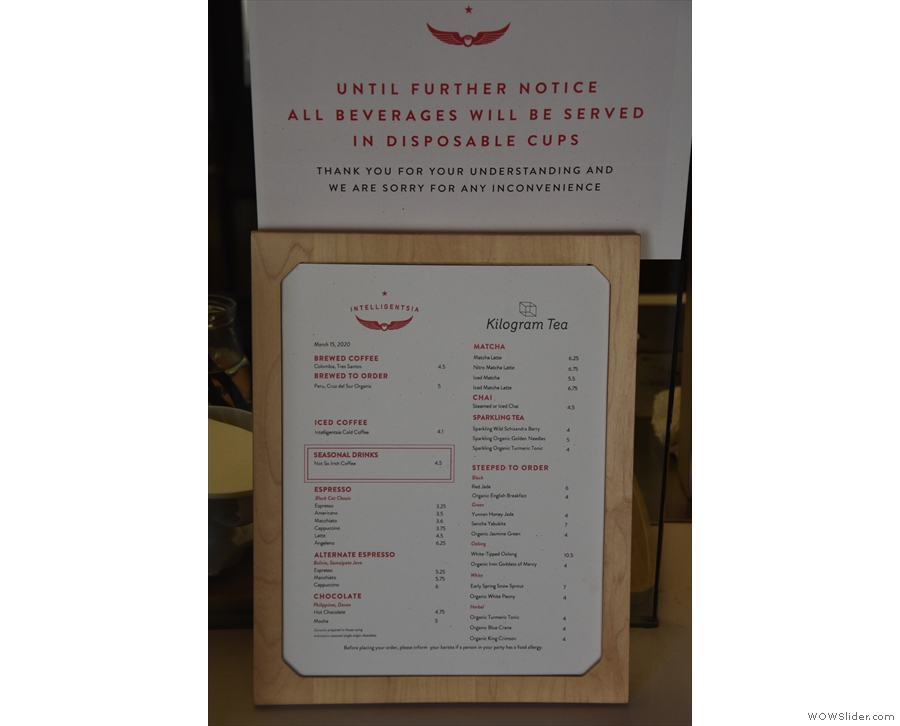 The menu is to the left of that: when I visited, COVID-19 restrictions were in place.