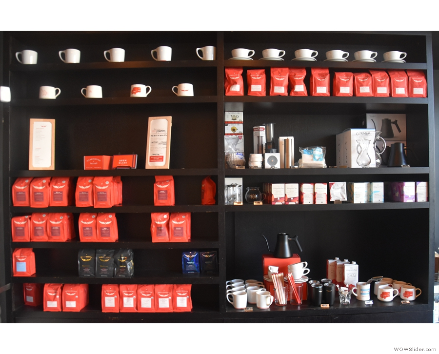 Finally, there's a wide selection of retail bags of coffee and coffee-making kit.