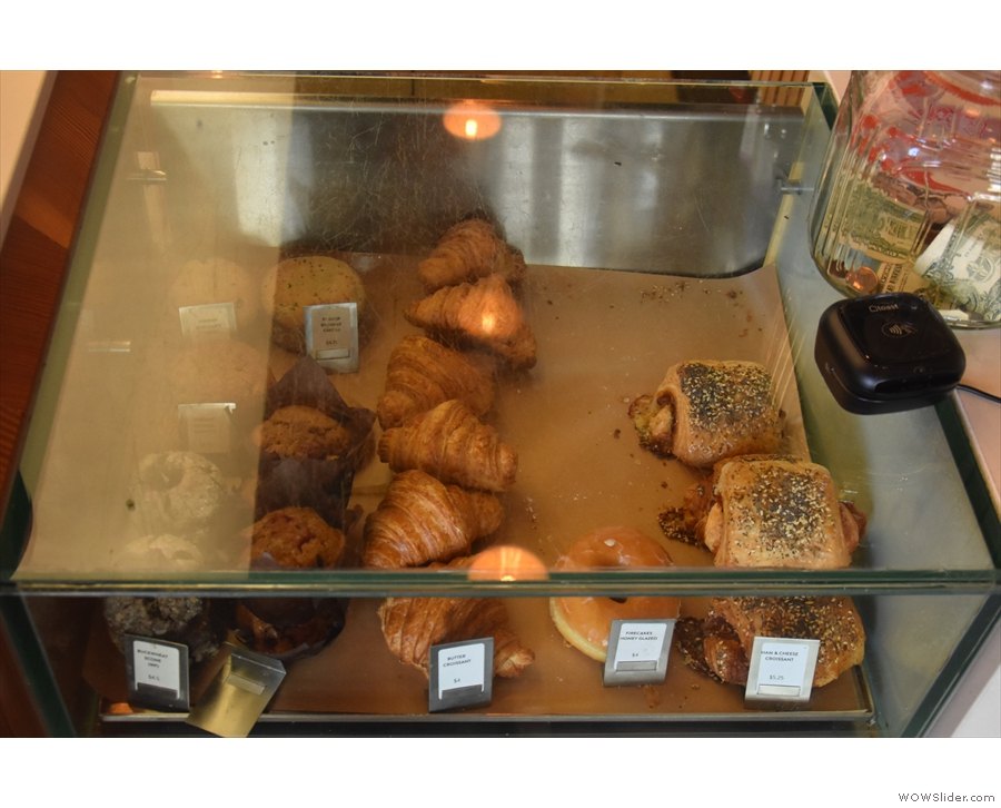 There's a tempting glass display case with the cakes, pastries and savouries.