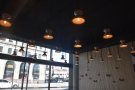 Despite the front of Intelligentsia being floor-to-ceiling glass, there are plenty of lights.