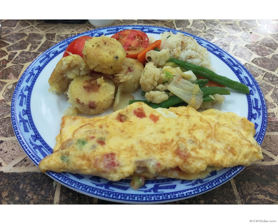... while the breakfasts were awesome. I had a freshly-cooked omelette on the first day...