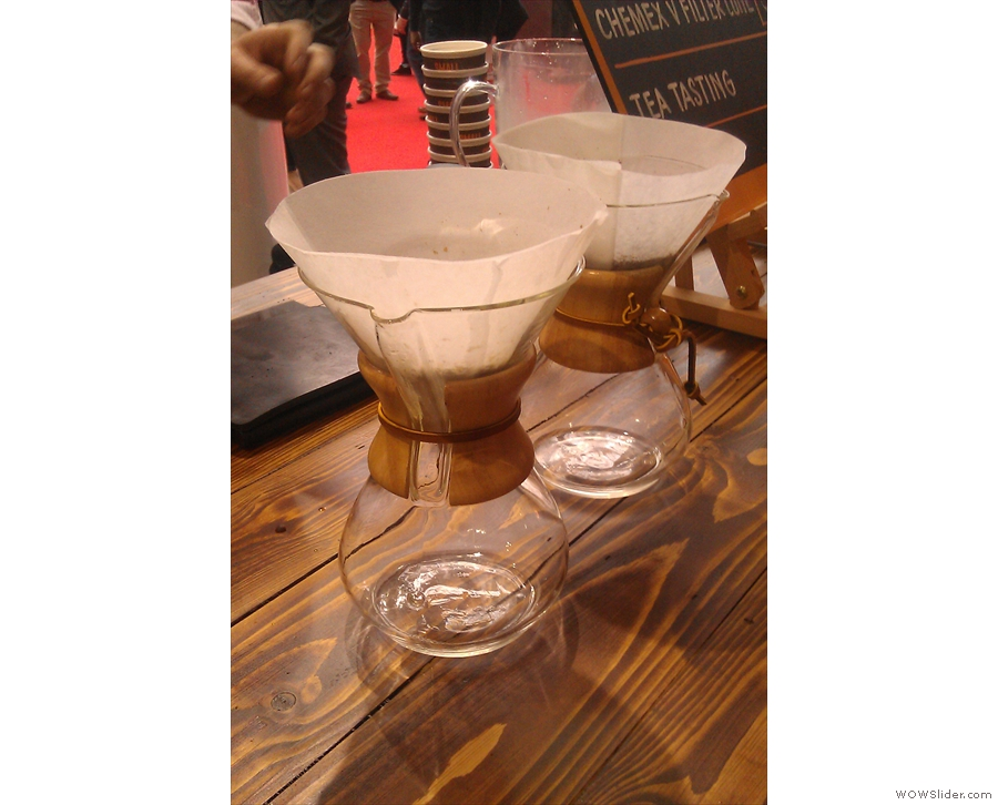 While the pour-overs are filtering, Lee turns his attention to the Chemex filters. These two have also been pre-rinsed.