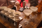 Matthew Algie built a brew bar with pour-over filters (left) and Chemex (right).