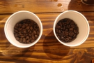 The beans side-by-side, Ethiopian on the left, Sumatran on the right.