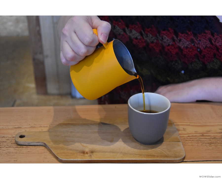 It doesn't have to be a carafe. It can also be a jug, as seen here in Whaletown Coffee...