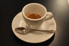 ... in two different cups. First you get a shot in a classic tulip-shaped espresso cup...