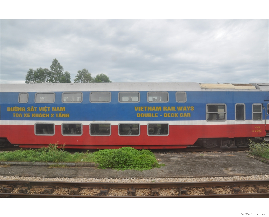 ... where I get a first glimpse of Vietnam Railways' double-deck passenger cars!