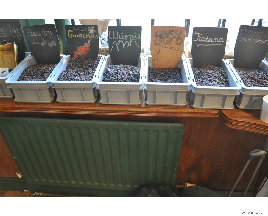 Look, the window really is full of coffee! All these (& more) can be yours to take home...