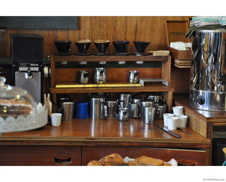 Espresso not your thing? Try the filter-rack, caught here in a rare quiet moment.