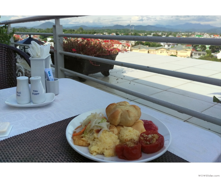The following morning, I had breakfast on the roof-top terrace...
