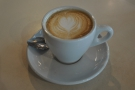 ... from Giraffe and this surprisingly good Union Roasted flat white that came with it.