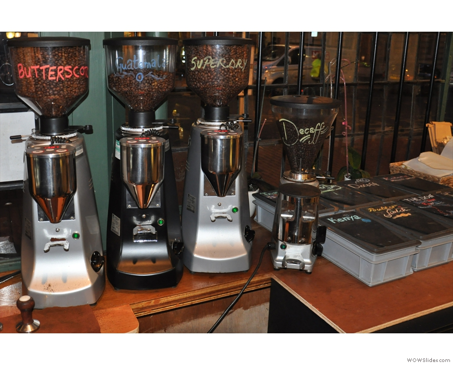 The grinders, between the coffee beans & espresso machines (they were behind the counter).