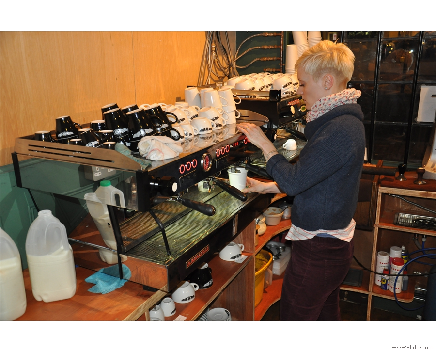 And in action. Manager Eva makes coffee.