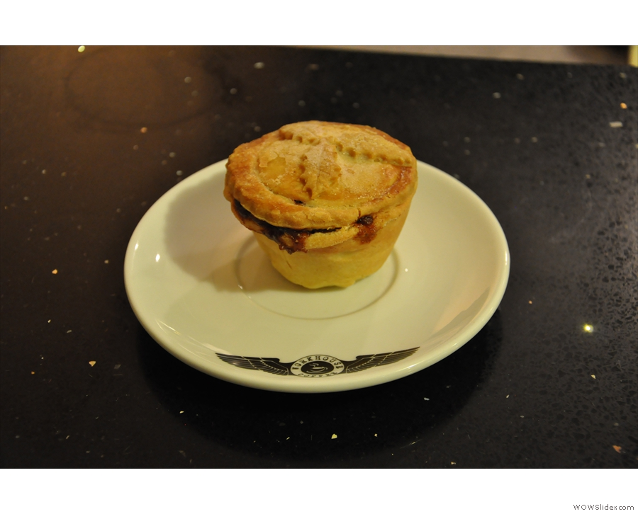 The innovation doesn't stop with the coffee. It makes all its own food. Here's a mince pie.