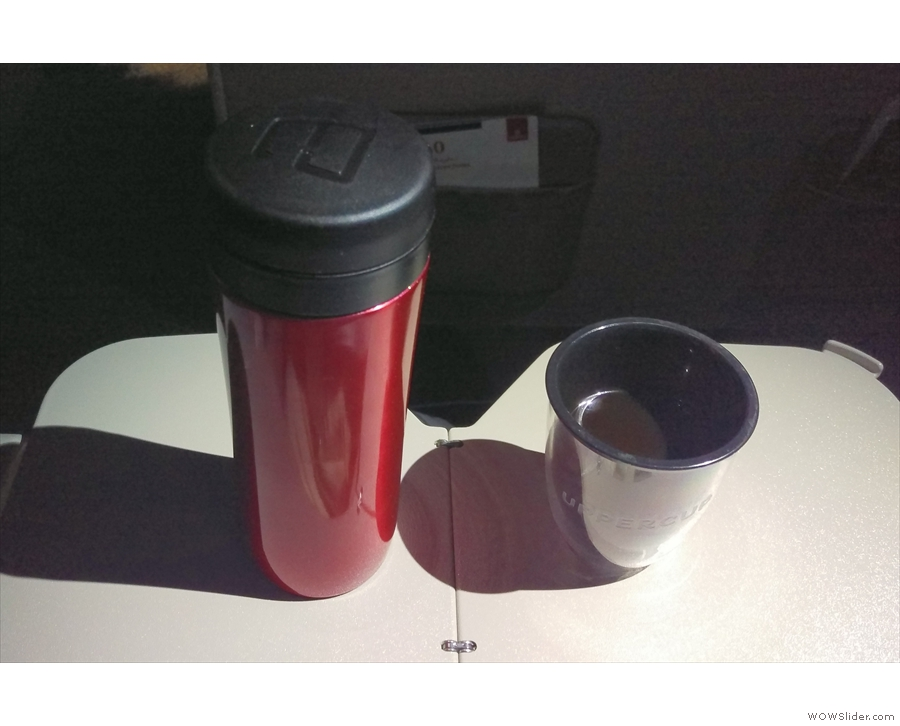 I caught it, by the way. Here's my coffee, being enjoyed on the plane, 3am UK time.