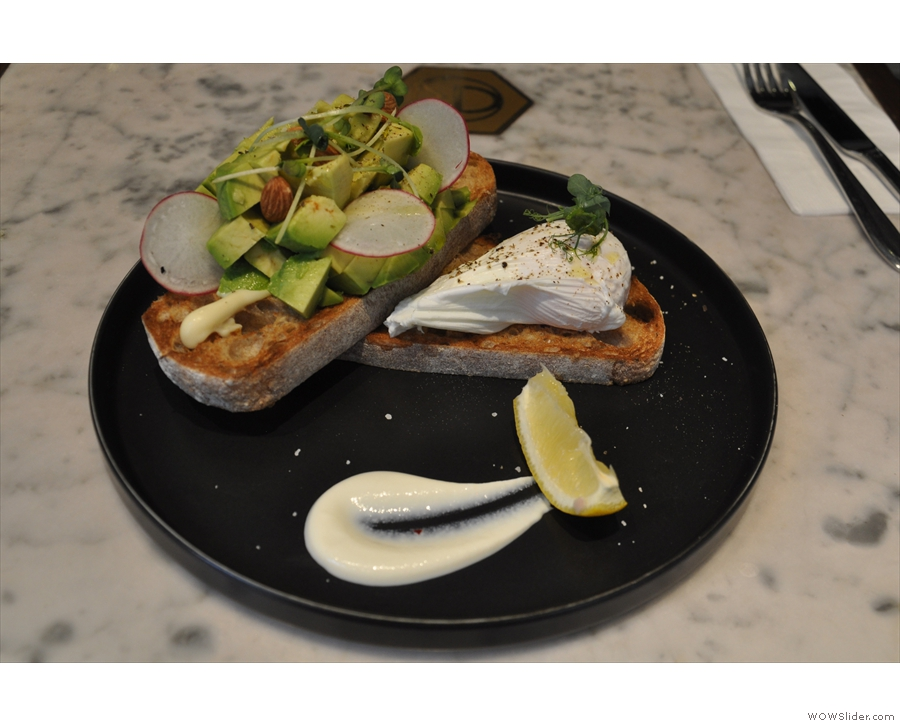 ... and avocado on toast at The Cupping Room, Wan Chai.